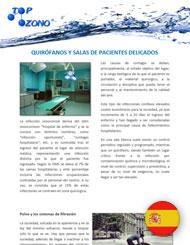 Tratamiento en quirófanos y salas de pacientes delicados